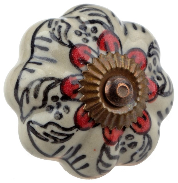 GlideRite Hand Painted Melon Ceramic India Cabinet Knob - Asian - Cabinet And Drawer Knobs - by ...