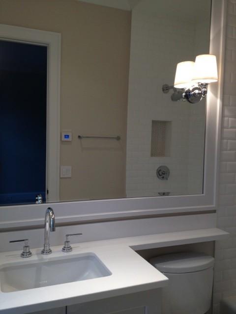 white bathroom with heated floor mediterranean los angeles by