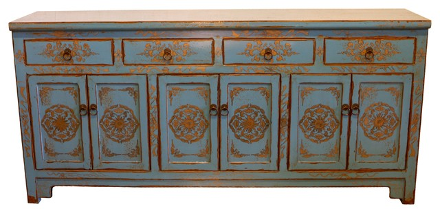 Blue and Gold Cabinet - Asian - Buffets And Sideboards - by Mortise & Tenon Custom Furniture Store