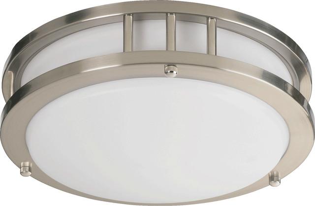 Fluorescent Light Satin Nickel Contemporary Flush Mount Ceiling Lighting