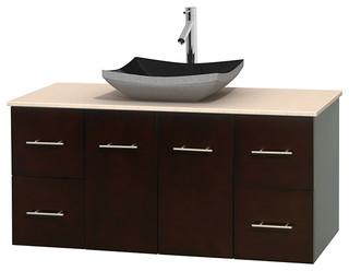 Centra 48 Espresso Bathroom Vanity Ivory Marble Top Altair Black Grani