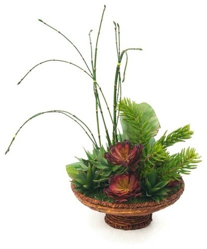 Fosters point basket with succulent and banana leaf for Artificial banana leaves decoration