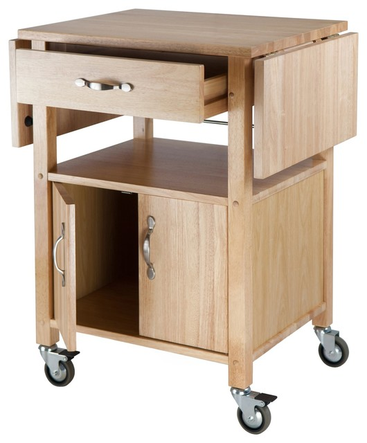 Winsome Wood Kitchen Cart with Cabinet and Shelf with Beech Finish X-02948 - Contemporary ...