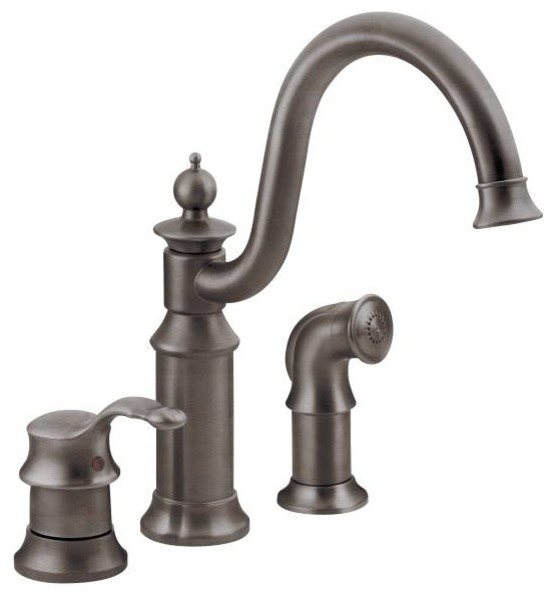 Moen Waterhill Oil Rubbed Bronze One Handle High Arc Kitchen Faucet Traditional Kitchen
