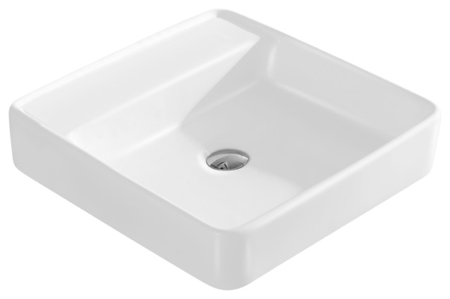 Large White Sink : ... White Vitreous China Large Square Vessel Sink modern-bathroom-sinks