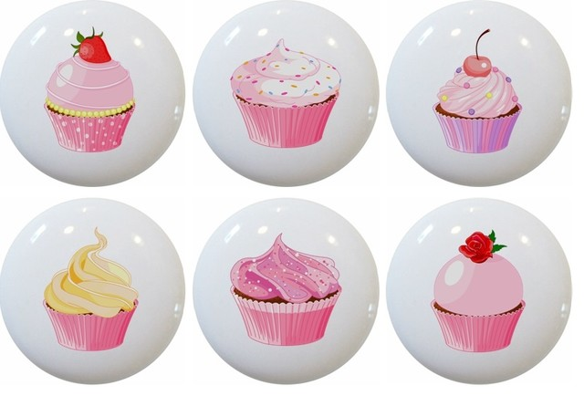 Cupcake Ceramic Knobs Set Of 6 Traditional Cabinet