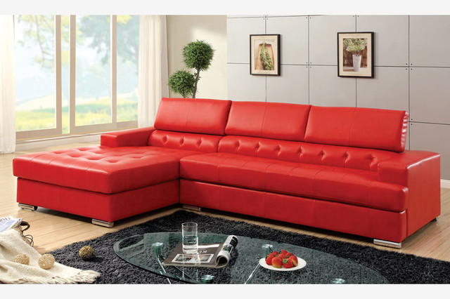 F modern red leather sectional sofa couch right chiase for Red leather modular sectional sofa
