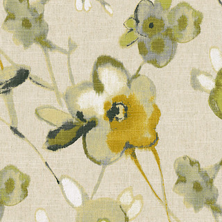 Yellow Green And Flax Painted Floral Fabric Modern Drapery Fabric By L