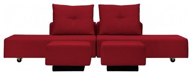modulares sofa set flex iii rot bauhaus look eck. Black Bedroom Furniture Sets. Home Design Ideas