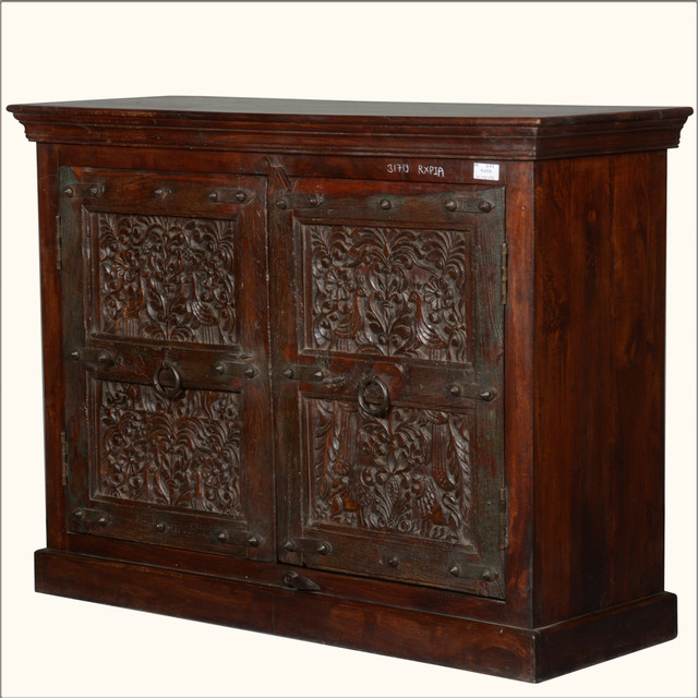 Bird of Paradise Reclaimed Wood Small Sideboard Storage Cabinet - Rustic - Buffets And ...