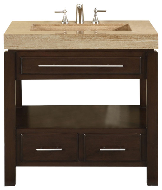 36 Inch Single Bathroom Vanity Set With Travertine Stone Top Sink Vanity Tops And Side