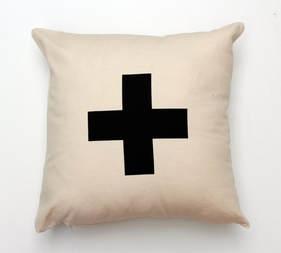 Decorative Pillows With Crosses : Plus Typographic/Swiss Cross Pillow Cover by Zana - Modern - Decorative Pillows - by Etsy