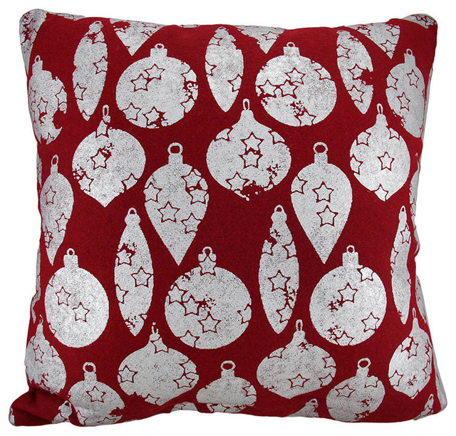 Eclectic Decorative Pillows : Red/Silver Christmas Ornaments Throw Pillow 18