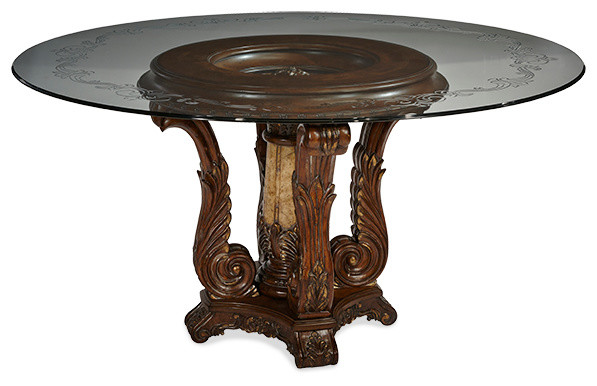 Victoria Palace 60 Round Glass Top Dining Table Traditional Dining