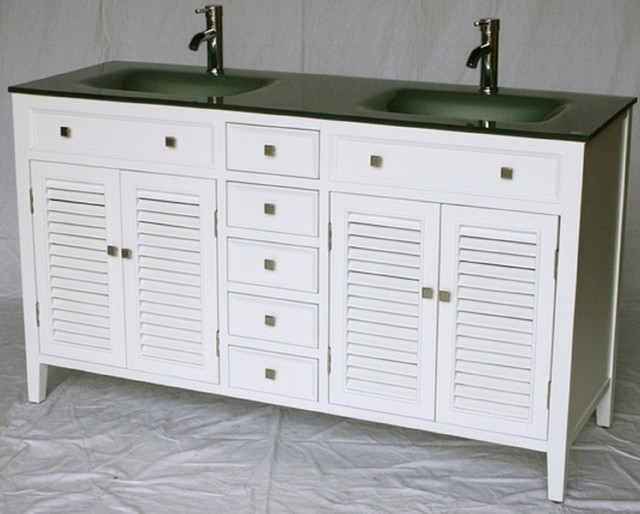 60 Inch Double Sink Bathroom Vanity Coastal Cottage Beach House FREE SH