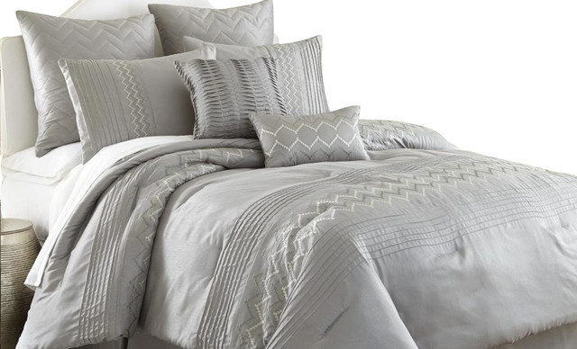 Gray Embroidered Comforter : Reagan piece embroidered comforter set king grey