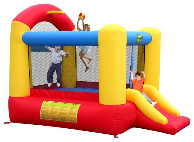 Happy hop aire de jeux gonflable avec toboggan trampoline et panier de baske - Happy hop aire de jeux gonflable ...