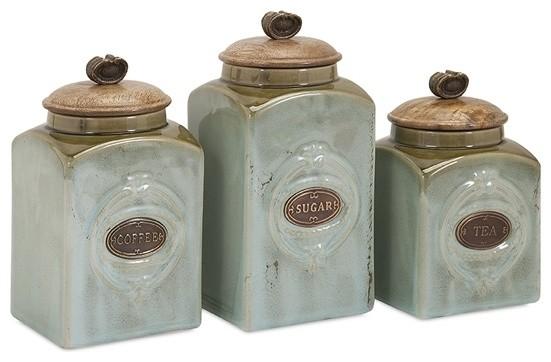 Coffee Sugar Tea Retro Blue Ceramic Canisters, Set of 3 ...
