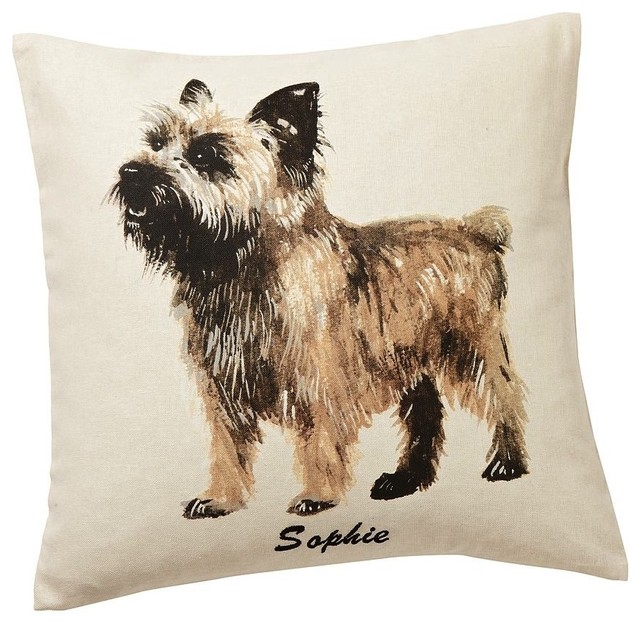 Decorative Pillows Dogs : Painted Dog Pillow Covers - Eclectic - Decorative Pillows - by Pottery Barn