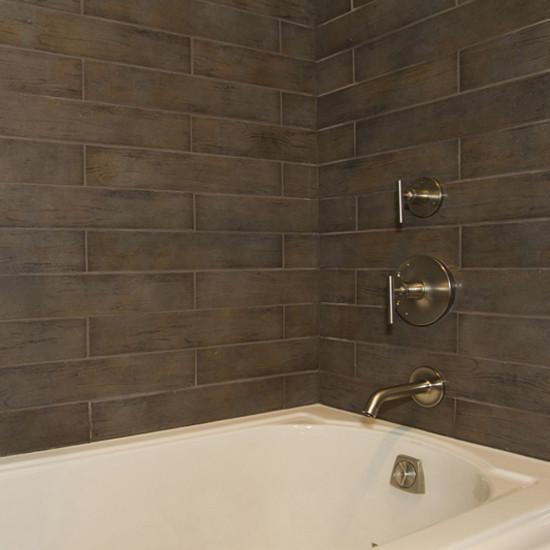 Tiled Bathtub: Dal Tile Timber Glen Espresso