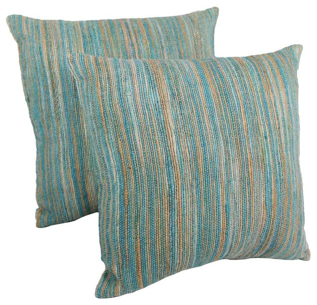 Blue Striped Decorative Pillows : Throw Pillows in Blue Palette Striped - Set of 2 - Contemporary - Decorative Pillows