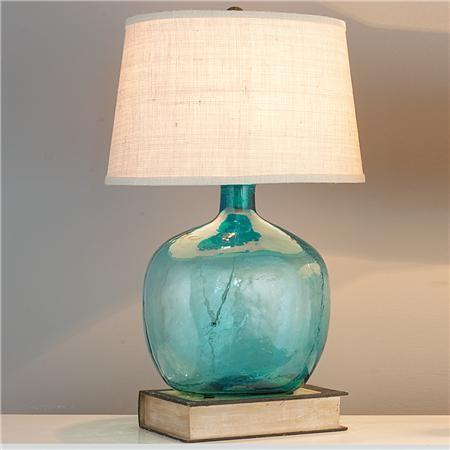 Demijohn Table Lamp Turquoise With Cream Burlap Shade