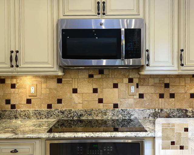 travertine mosaic backsplash with brown glass tile
