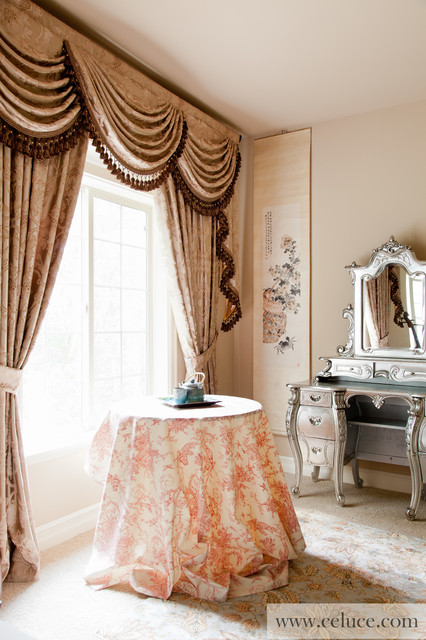 Baroque floral valance curtains with swags and tails by for Celuce curtains
