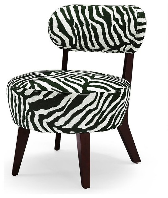 Olin Accent Chair in Black and White Traditional
