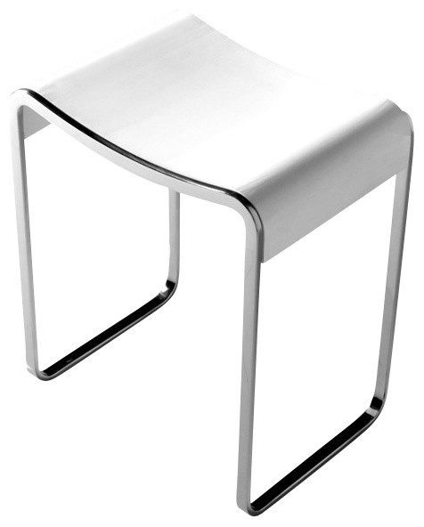 ADM Matte White Stone Resin Bathroom Stool Modern