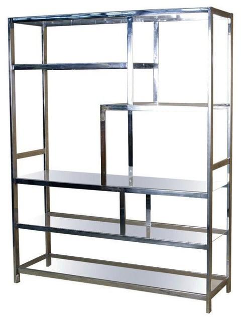 Milo Baughman DIA Style Chrome Glass Etagere - Modern - Storage Cabinets