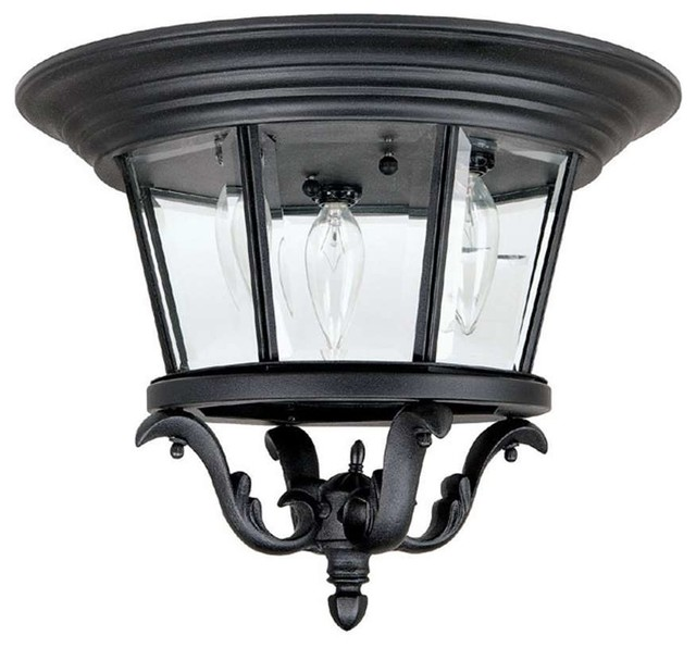 Capital Lighting Madison 3 Lamp Outdoor Ceiling Fixture Black Traditional
