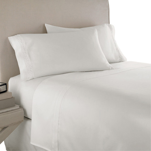 600tc Solid White California King Fitted Sheet 2