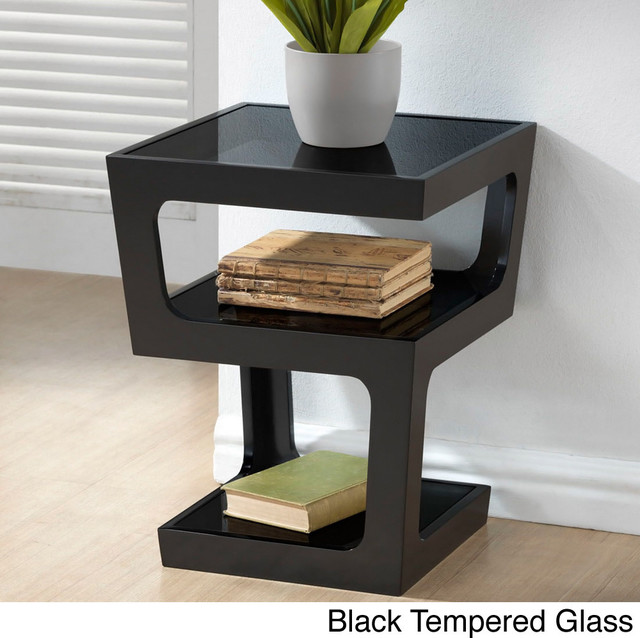 Clara modern tall black 3 tiered end table contemporary for Tall black end table