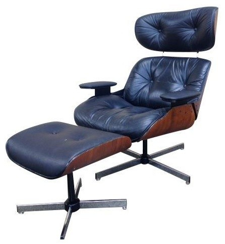 Mid century selig eames style chair ottoman modern footstools cubes and ottomans by - Selig eames chair ...