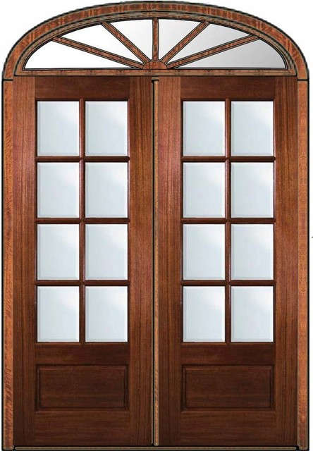 Pre hung patio transom double door 96 mahogany 3 4 lite 8 for Double hung exterior french doors