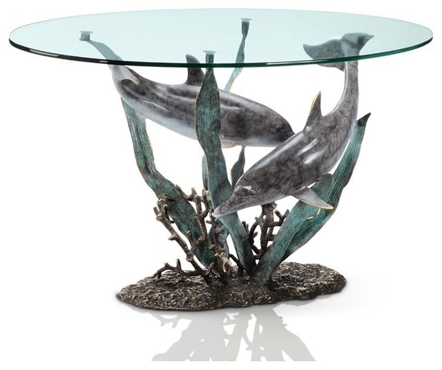 Cast Aluminum Dolphin Duet Glass Top Coffee Table Contemporary Coffee Tables By Zeckos