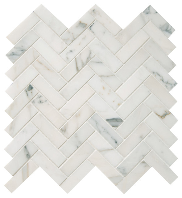 Polished Calacatta Herringbone Mosaic Tile Traditional