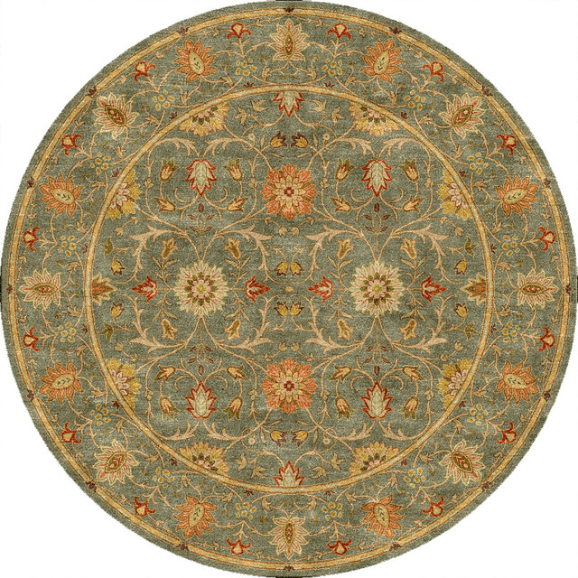Fine Round Persian Bidjar Area Rug Hand Knotted Wool And: Hand-tufted Traditional Oriental Pattern Green Rug (8