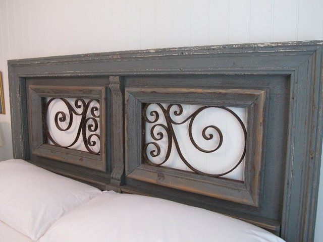 antique iron queen headboard 1