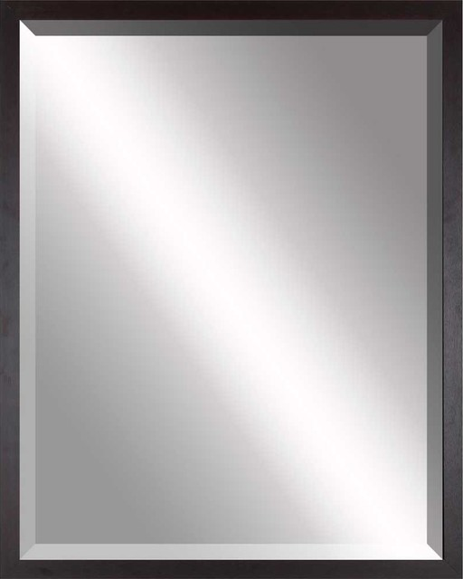 Beveled mirror simple thin brown 36x48 contemporary for Thin wall mirror