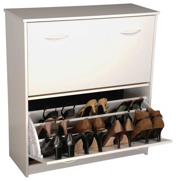 """Shoe Cabinet Holds 24 Pairs of Shoes, White, 34""""x30""""x11"""" shoe-storage"""