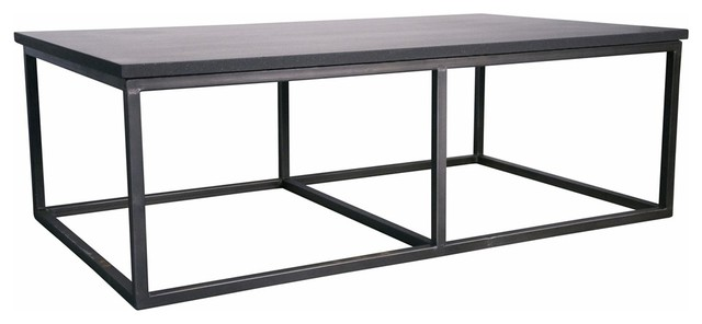 noir stone coffee table with metal small contemporary coffee tables by ldc home. Black Bedroom Furniture Sets. Home Design Ideas