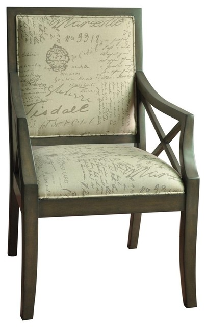 Driftwood French Script X Arm Chair Contemporary