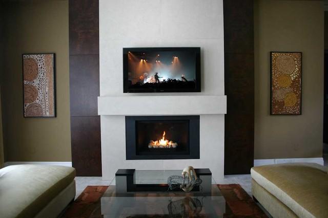 Custom Lightweight Concrete Fireplace Surround - Contemporary - Indoor Fireplaces - by Dekko ...