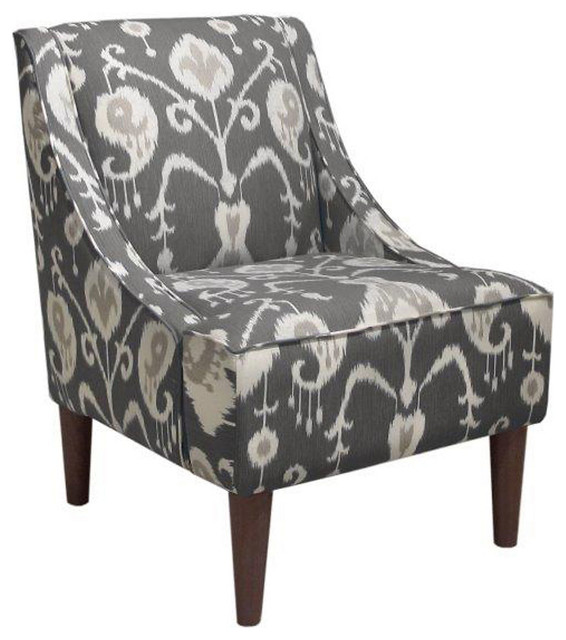 Quinn Swoop Arm Chair Smoke Gray Ikat Contemporary