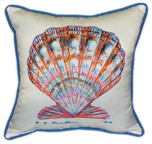 Beach Style Outdoor Cushions : Betsy Drake Scallop Shell Large Pillows, Set of 2 beach-style-outdoor-cushions-and-pillows