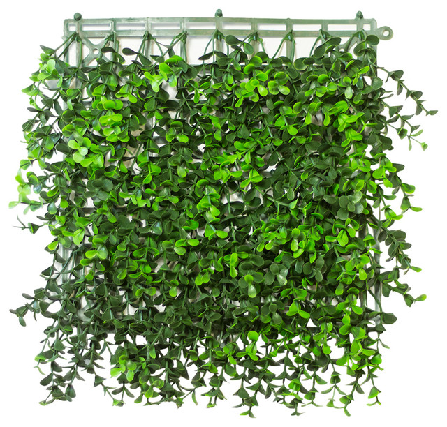 Artificial Boxwood Hedge Mat U.V. rated 10-Piece, Long Leaf, Veregated Green, 20 - Contemporary ...