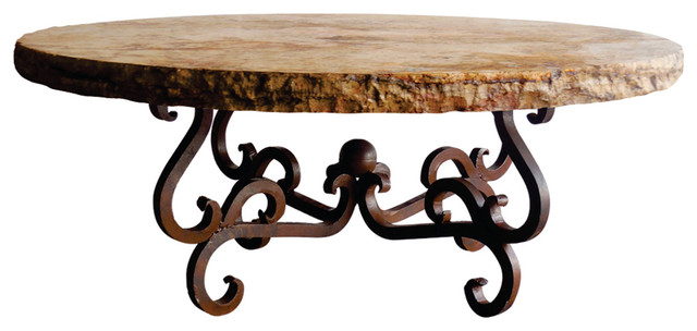 Round Iron Tavertine Marble Top With Chiseled Edge Coffee