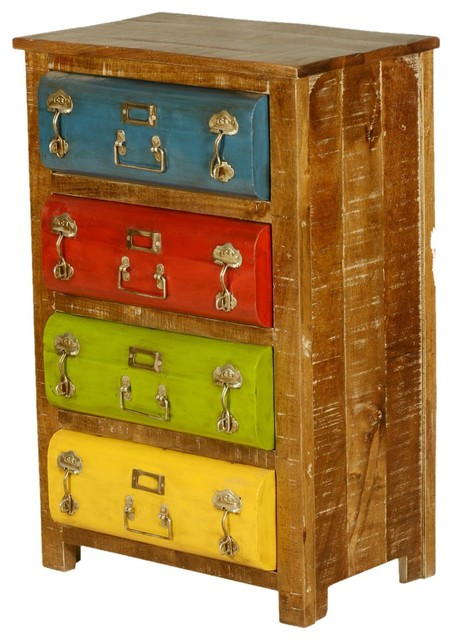 Steam Punk Multi Color Mango Wood Iron 4 Drawer Dresser Industrial